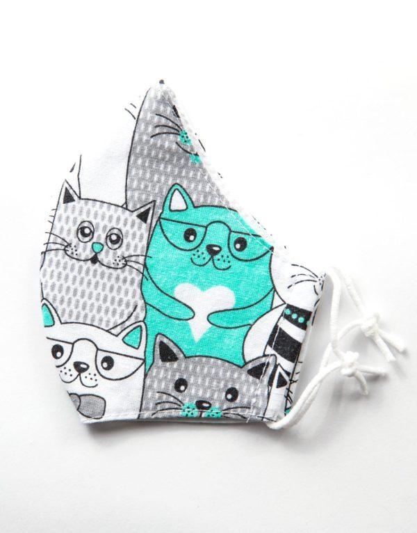 Bavlnené rúško Mačky 1