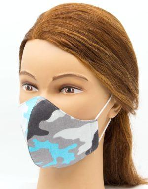 Bavlnené rúško modrý maskáč