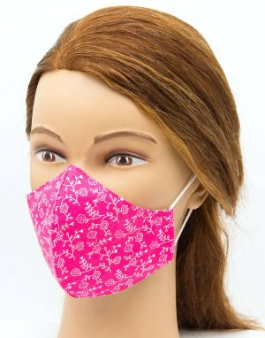 Bavlnené rúško Ružový floral | pinky