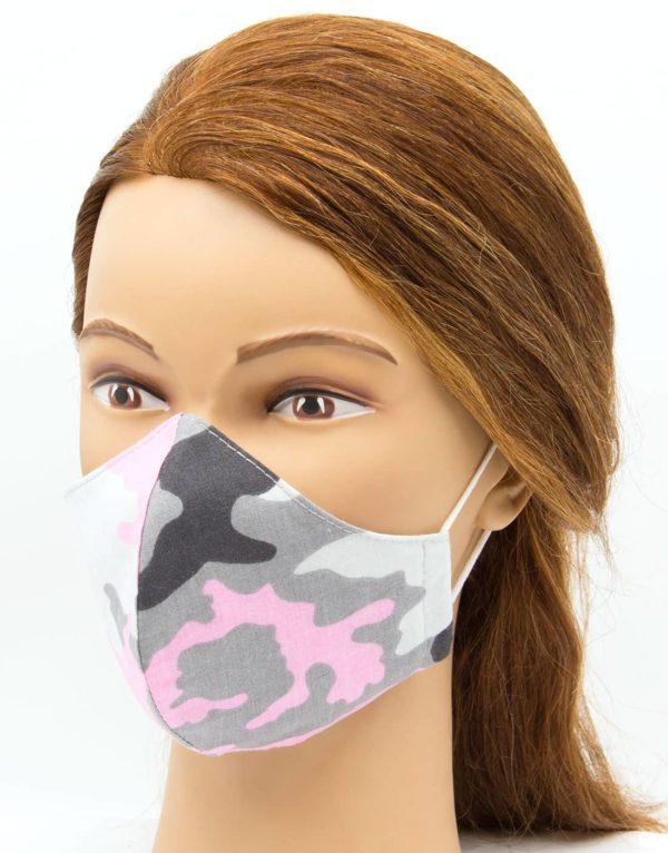 Bavlnené rúško ružový maskáč