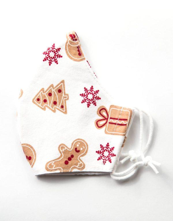 Bavlnené rúško Vianočné perníky biele 1