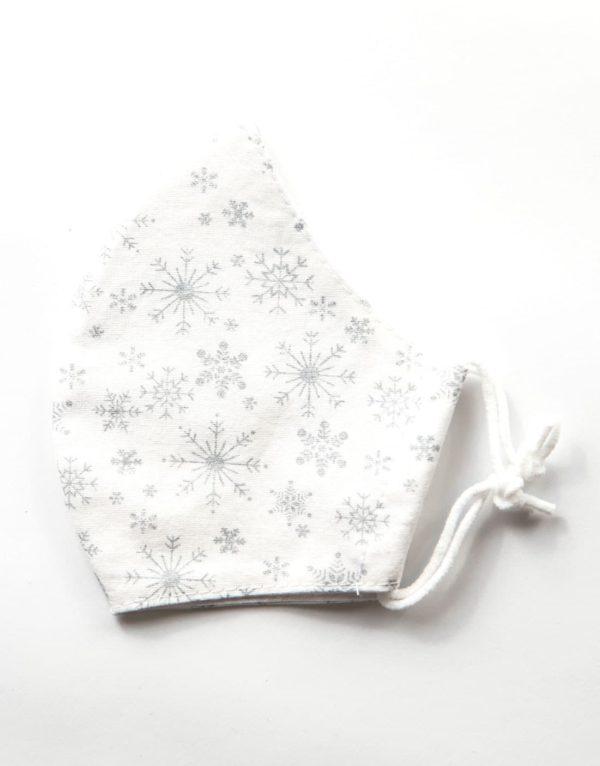 Bavlnené rúško | Vianočné vločky | Biele