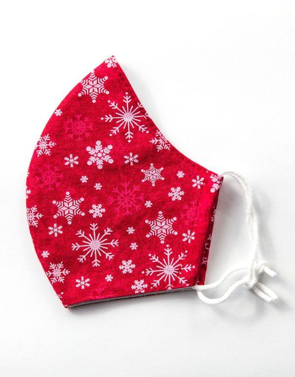Bavlnené rúško Vianočné vločky červené 1