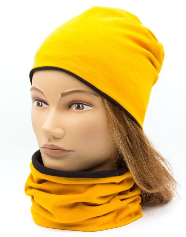 Nákrčník s čiapkou Mustard - black