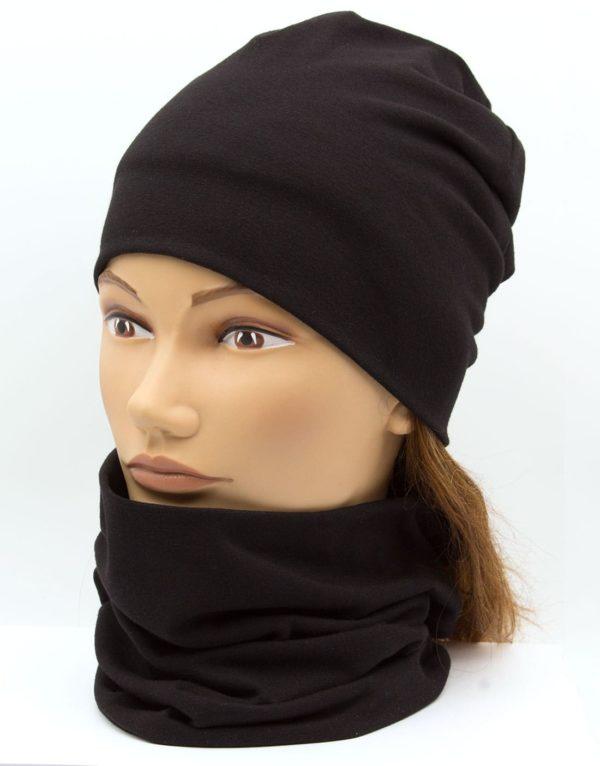 Nákrčník s čiapkou čierna