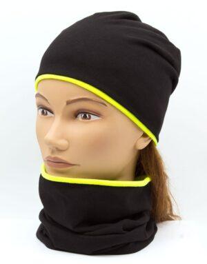 Nákrčník s čiapkou Čierna - neon