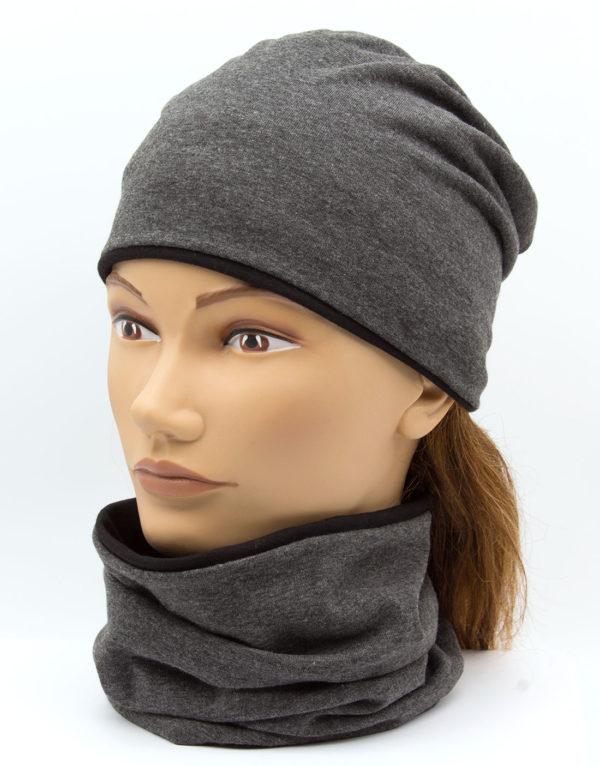 Nákrčník s čiapkou Grey - black