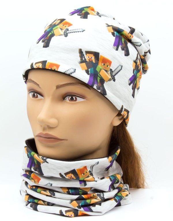Nákrčník s čiapkou Minecraft