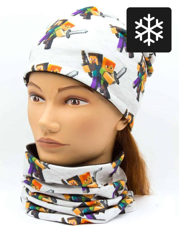 Winter Nákrčník s čiapkou Minecraft 1