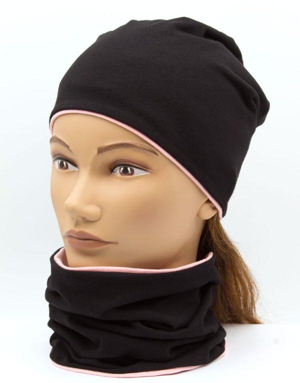 Nákrčník s čiapkou Pinky - black