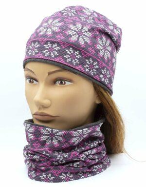 Nákrčník s čiapkou pletený vzor