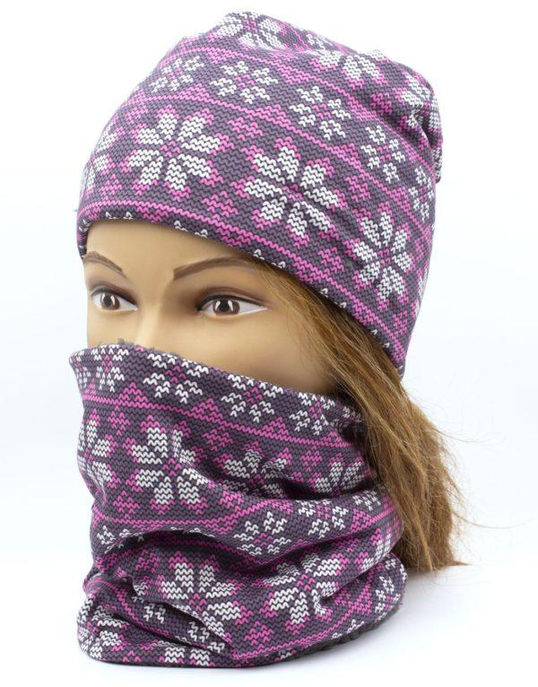 Winter Nákrčník s čiapkou Pletený vzor 2