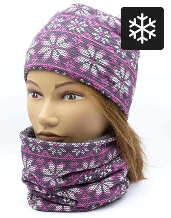 Winter Nákrčník s čiapkou Pletený vzor 1