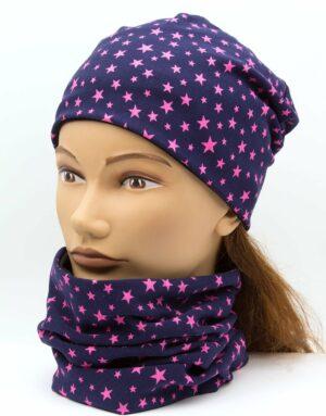 Set nákrčník s čiapkou Stars