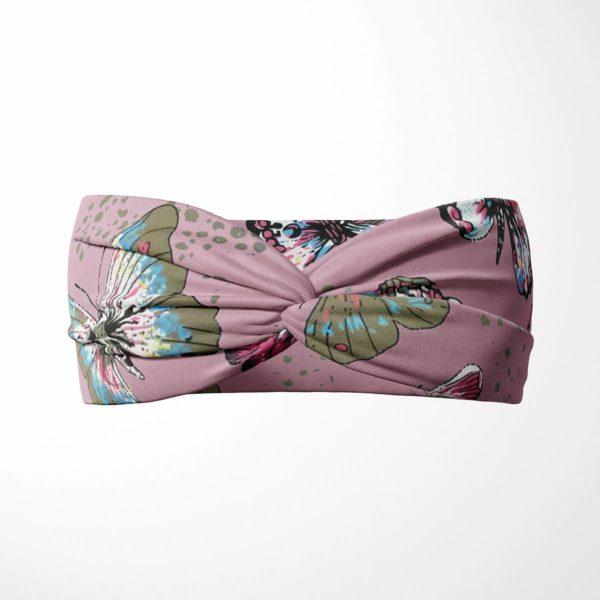 Bavlnená čelenka Motýle - ružová 1