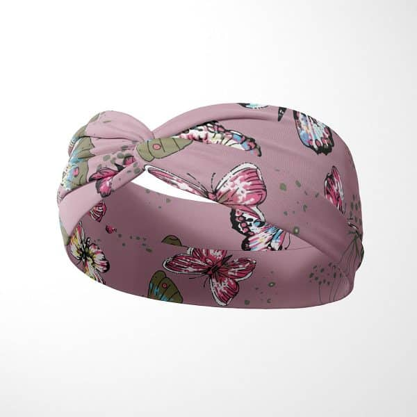 Bavlnená čelenka Motýle - ružová 2