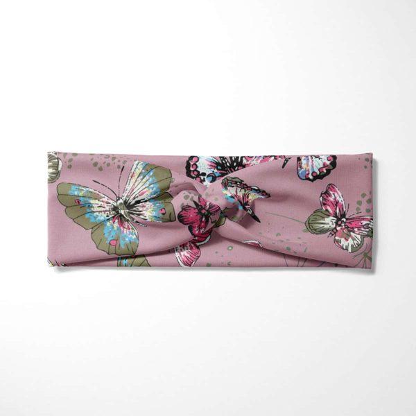 Bavlnená čelenka Motýle - ružová 3