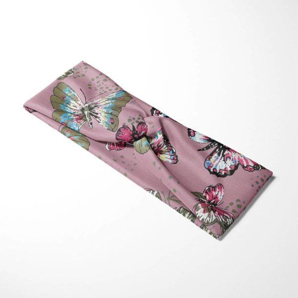 Bavlnená čelenka Motýle - ružová 4