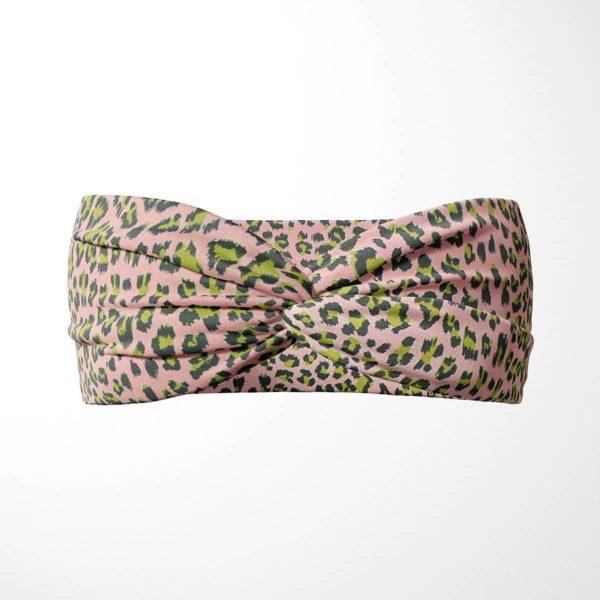 Bavlnená čelenka Ružový leopard 1