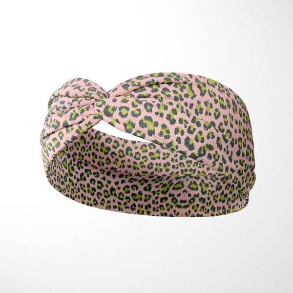Bavlnená čelenka Ružový leopard 2