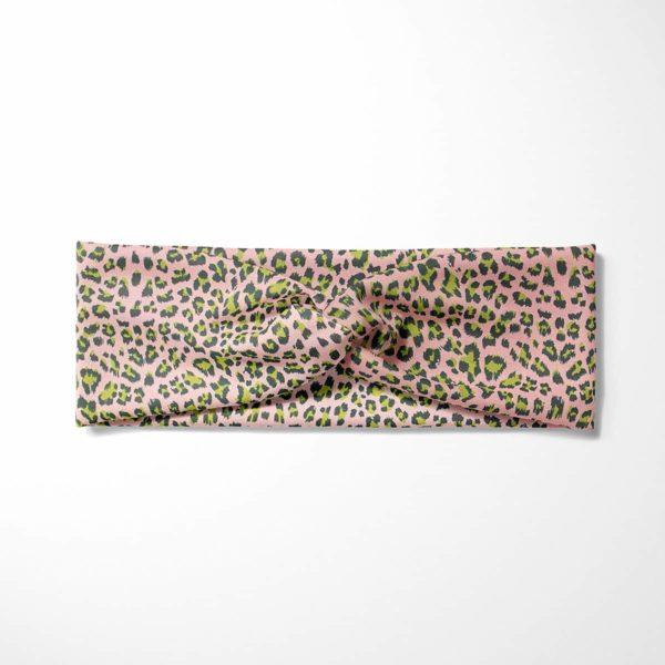 Bavlnená čelenka Ružový leopard 3