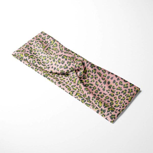 Bavlnená čelenka Ružový leopard 4
