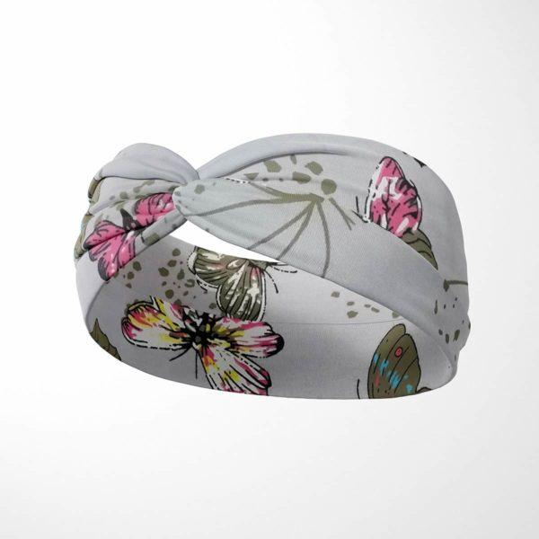 Bavlnená čelenka Motýle - sivá 2