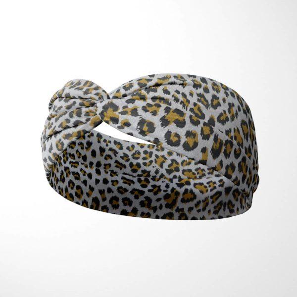 Bavlnená čelenka Sivý leopard 2
