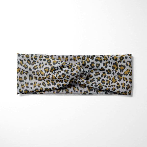 Bavlnená čelenka Sivý leopard 3