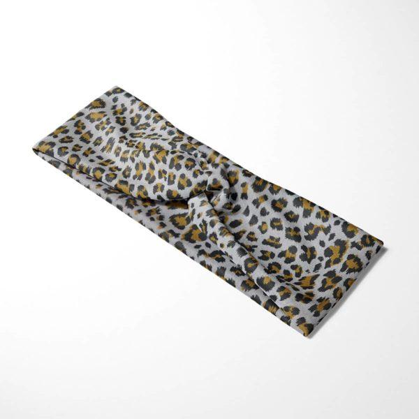 Bavlnená čelenka Sivý leopard 4