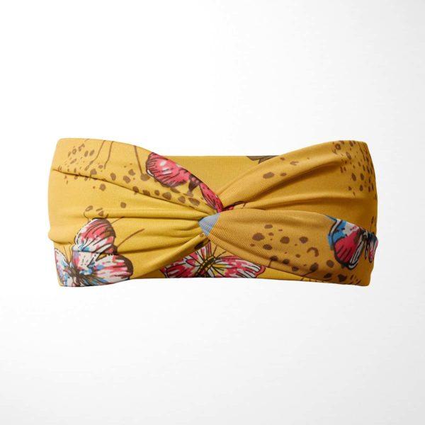 Bavlnená čelenka Motýle - žltá 1