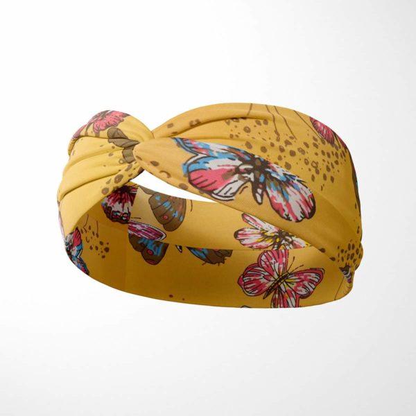 Bavlnená čelenka Motýle - žltá 2