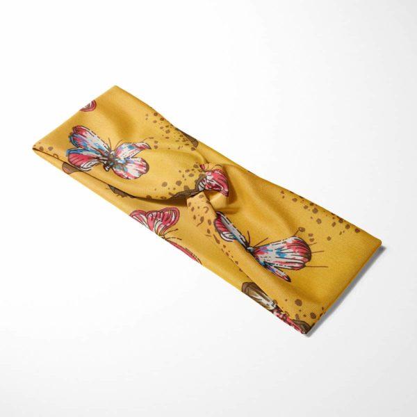 Bavlnená čelenka Motýle - žltá 4