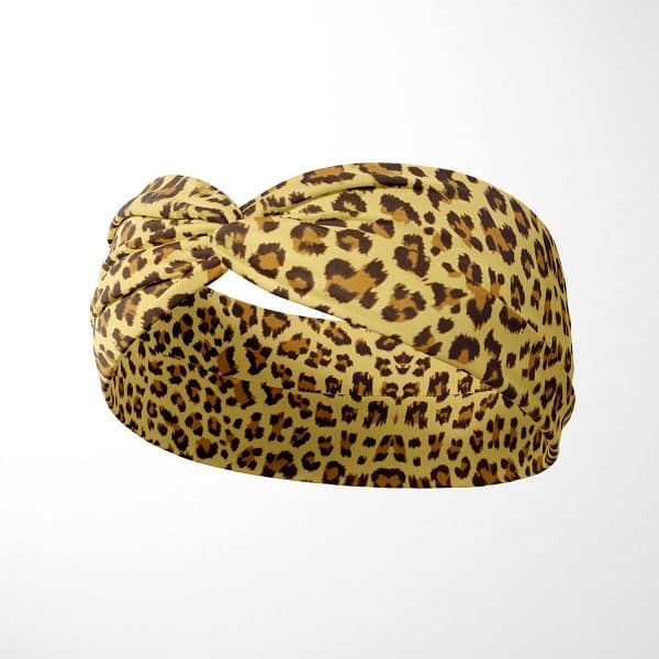 Bavlnená čelenka Žltý leopard 2