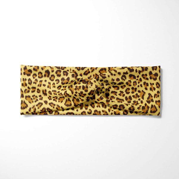 Bavlnená čelenka Žltý leopard 3