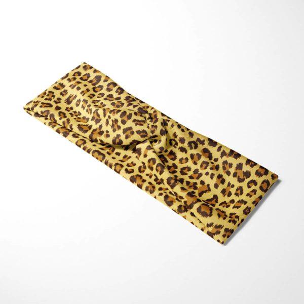 Bavlnená čelenka Žltý leopard 4