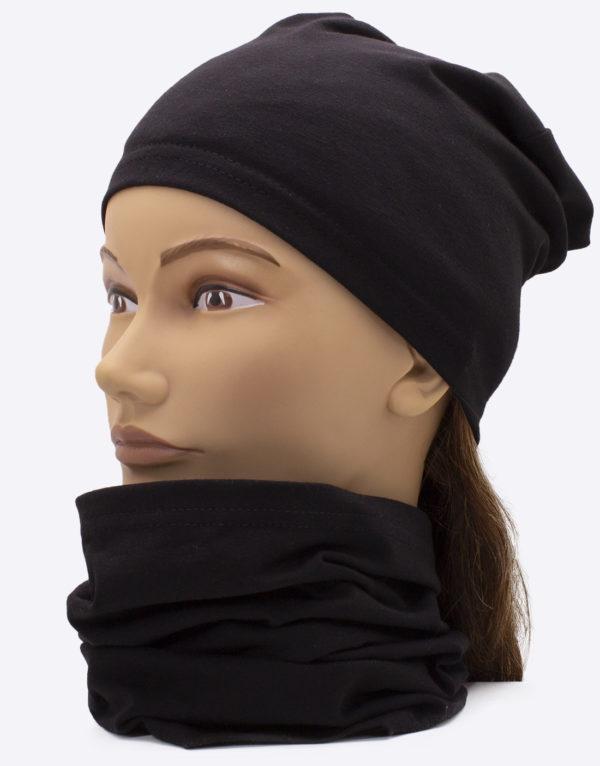 Set čiapka a nákrčník Black