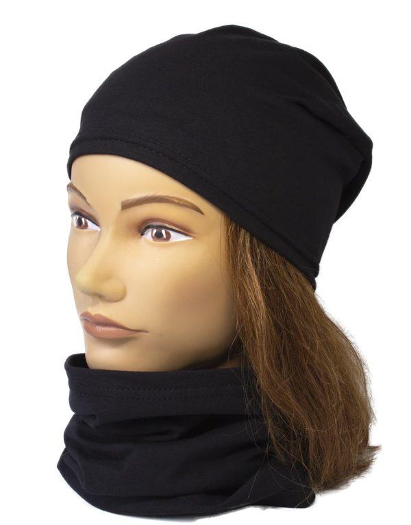 Jednovrstvový Nákrčník s čiapkou Black | Spring 1