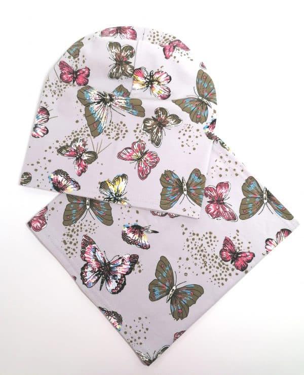 Jednovrstvový Nákrčník s čiapkou Motýle - sivá | Spring 2