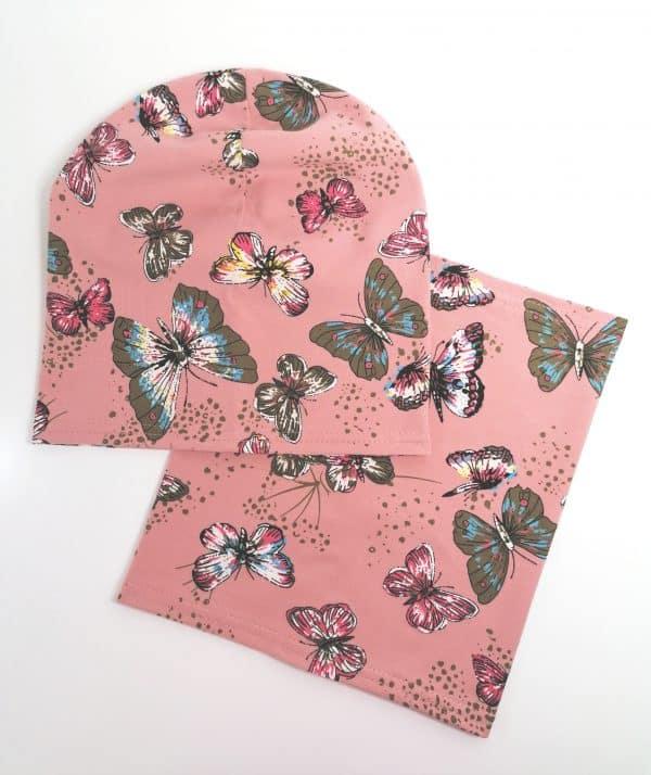 Jednovrstvový Nákrčník s čiapkou Motýle - ružová | Spring 2