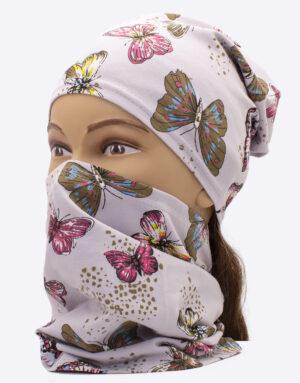Bavlnený nákrčník s čiapkou Motýle Sivé