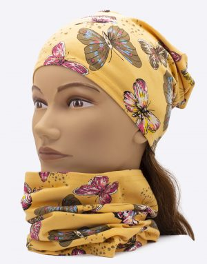 Set čiapka a nákrčník Motýle Žlté