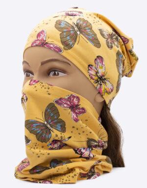 Bavlnený nákrčník s čiapkou Motýle Žlté
