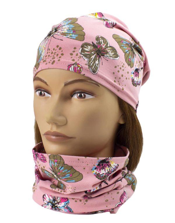 Jednovrstvový Nákrčník s čiapkou Motýle - ružová | Spring 1