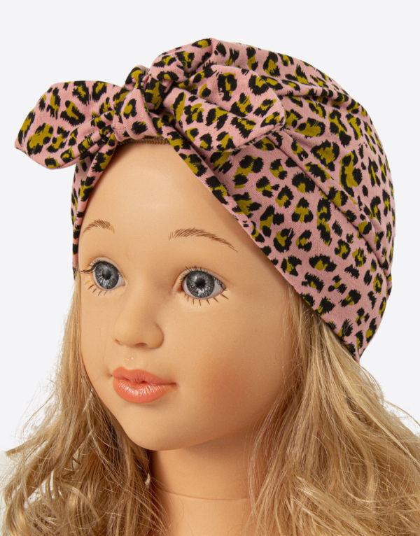 Bavlnená čiapka turbanka ružova leopard