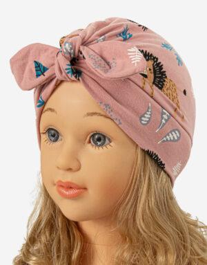 bavlnená čiapka turbanka ružová levíky