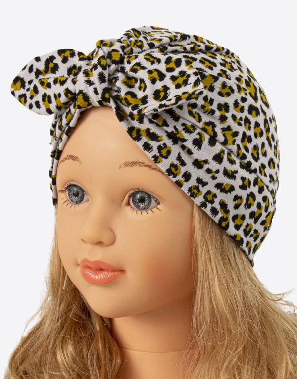 bavlnená čiapka turbanka sivý leopard
