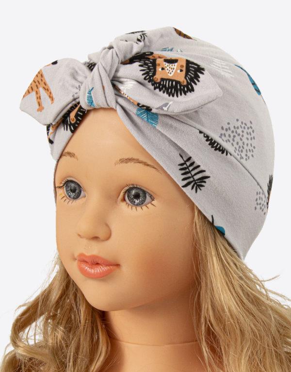 bavlnená čiapka turban sivá levíky