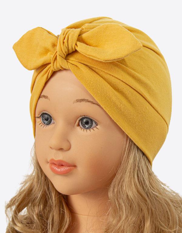 bavlnená čiapka turban - žltá
