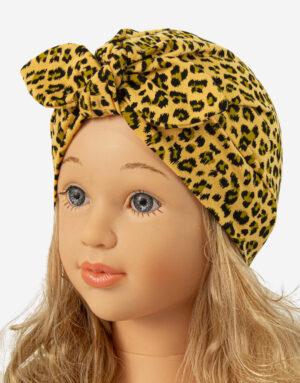 bavlnená čiapka turban - žltý leopard